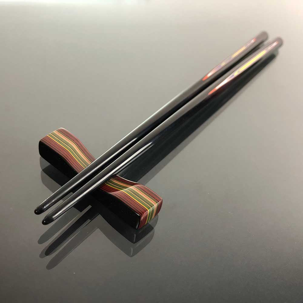 光山行|手工研磨漆筷 線條 Lacquer chopsticks(紅藍色)