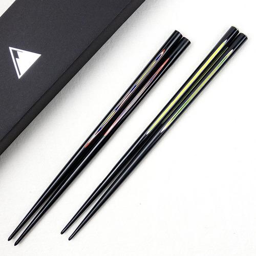 光山行|手工研磨漆器對筷 線條 Lacquer chopsticks(一套兩雙)