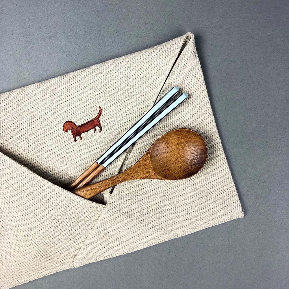光山行|臘腸犬 亞麻布電繡餐具包 Cutlery bag
