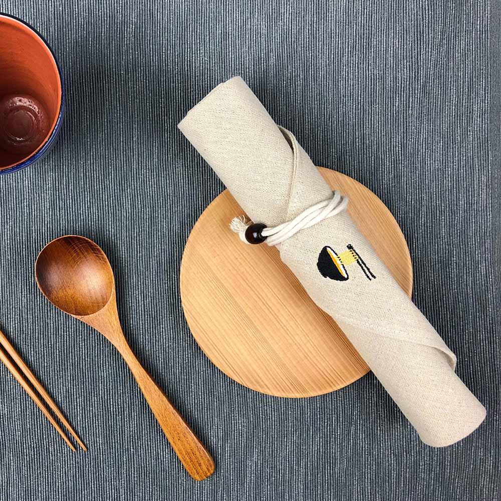 光山行|一碗拉麵 亞麻布電繡餐具包 Cutlery bag