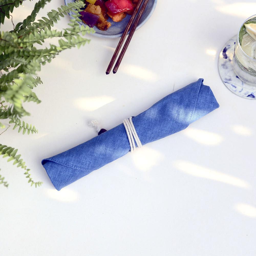 光山行|藍染餐具包 水色 Indigo cutlery bag