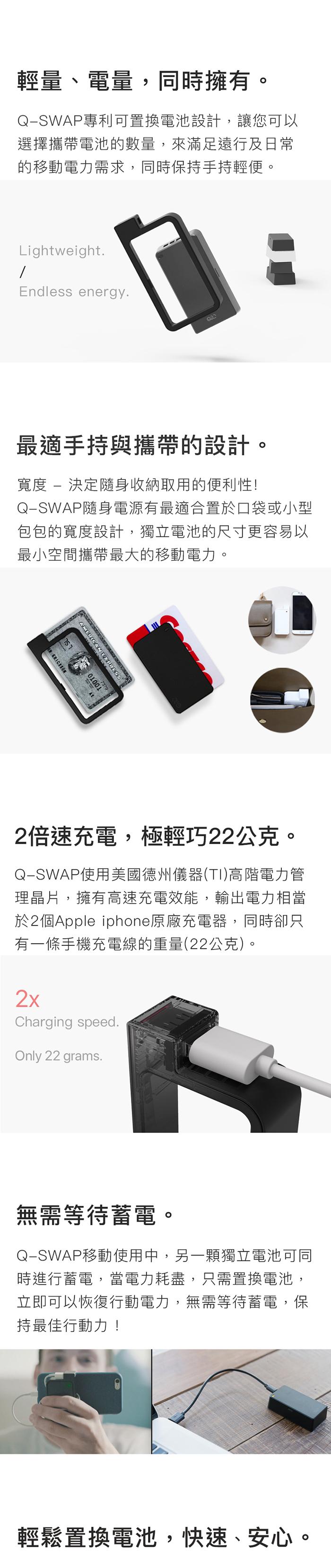 QQC|Q-SWAP 全新設計行動電源 10400 - 白色