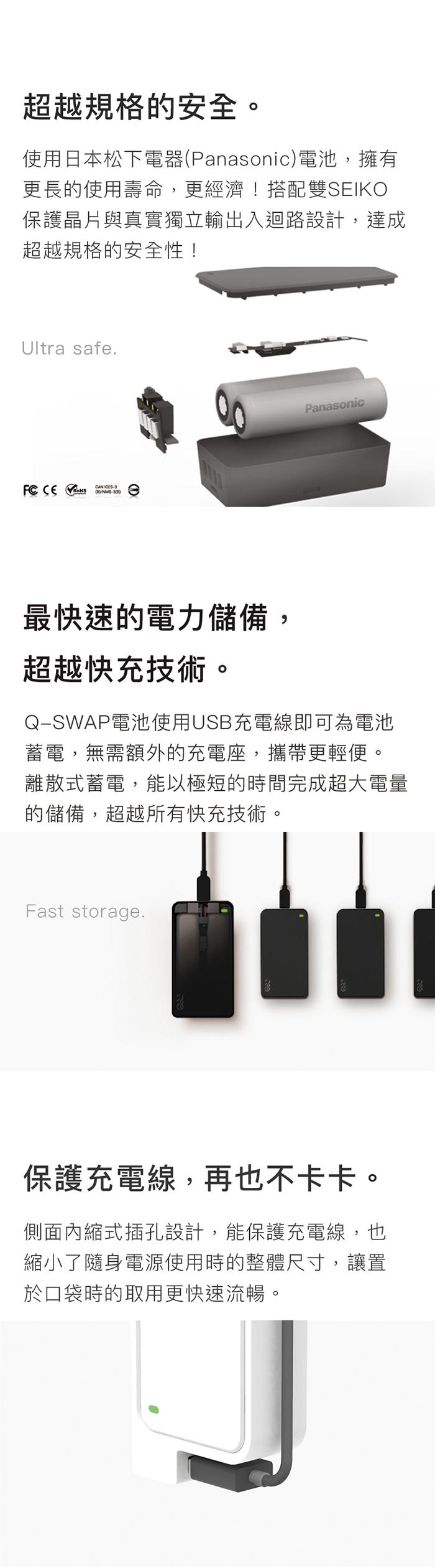 QQC Q-SWAP 行動電源 15600 - 黑色