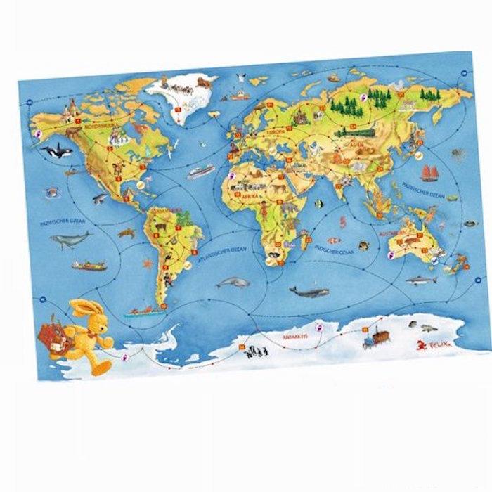 德國Felix 小兔環遊世界桌上遊戲+拼圖組