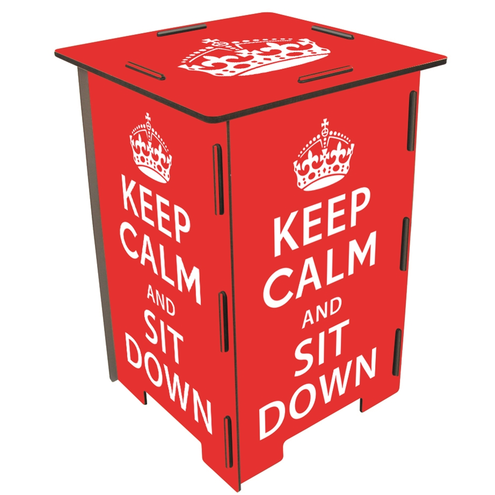 Werkhaus 彩印經典木凳儲物組(keep calm)