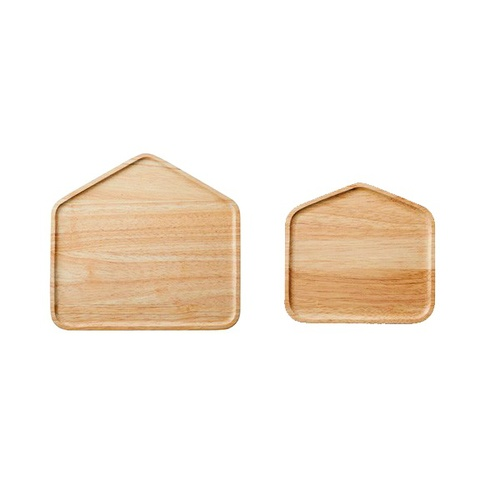 ACACIA|木製小房子餐盤原木色(中 / 小二件組 )