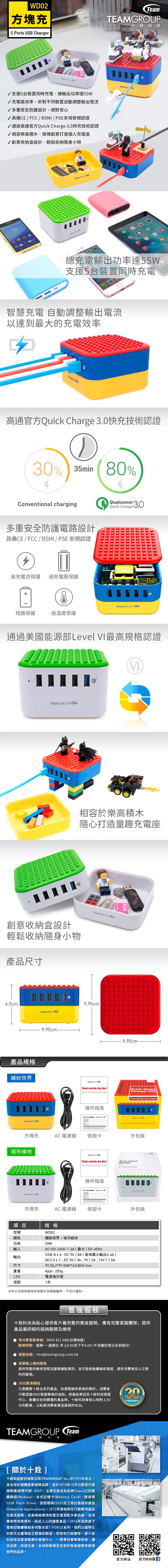 Team Group WD02 積木方塊充電座-相容樂高積木,支援QC 3.0快充