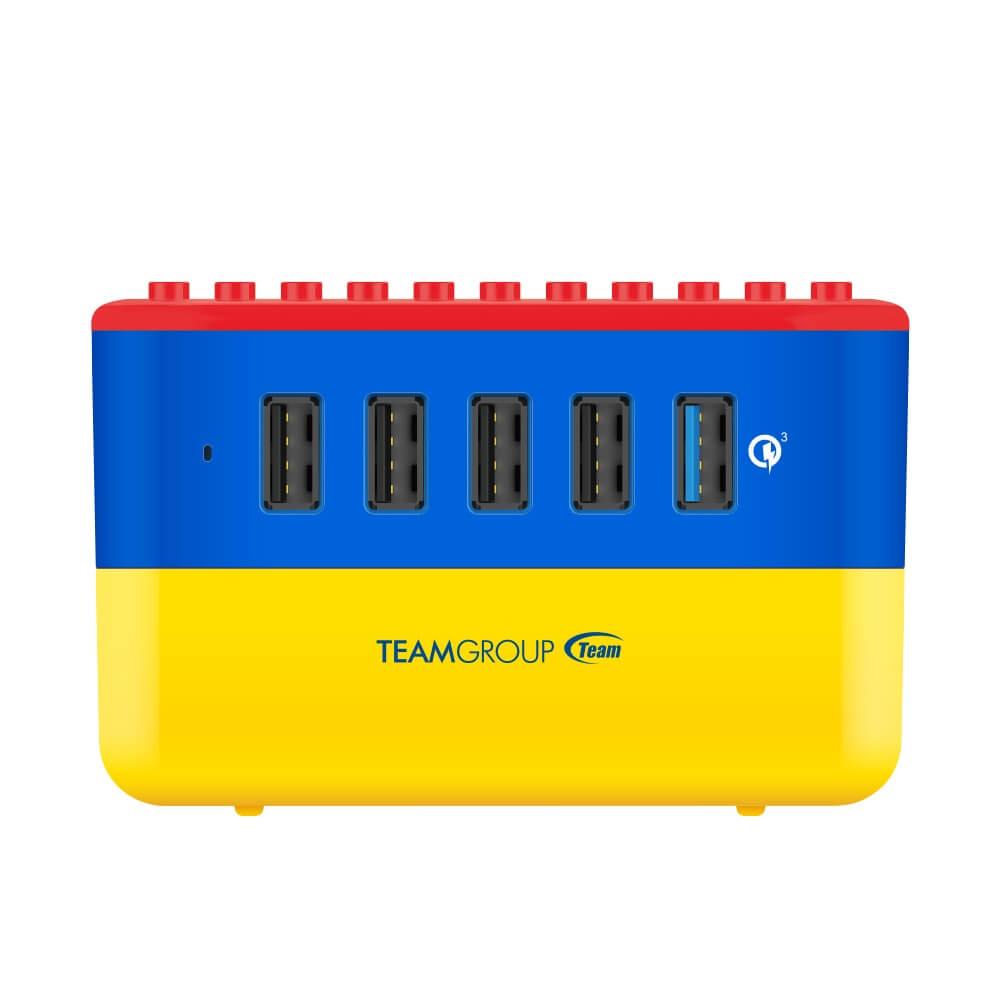 Team Group 十銓 WD02 方塊充電座 相容樂高LOGO療癒辦公小物 支援5台裝置同時充電 (含快充*1)