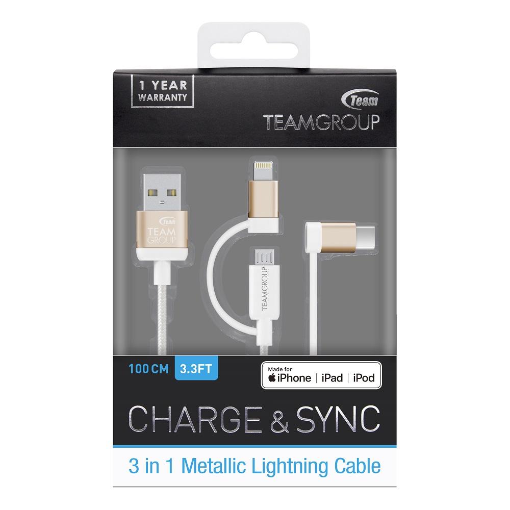 Team Group 十銓|WC0C Apple認證iOS、Type-C、Micro-B 3合1 金屬頭編織手機充電傳輸線 (1年保)