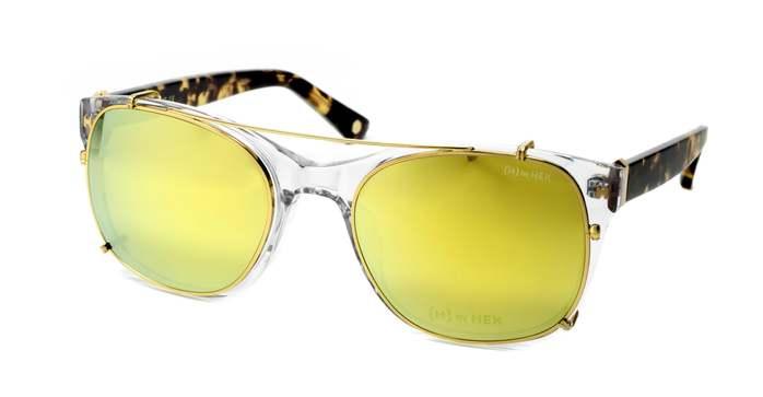 HEX Eyewear|騎士 - King A.│光學配前掛墨鏡│太陽眼鏡│義大利設計 - 透明,琥珀啡花
