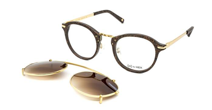 HEX Eyewear|科學家 - Michael F.│光學配前掛墨鏡│太陽眼鏡│義大利設計 - 褐色炭燒啡花