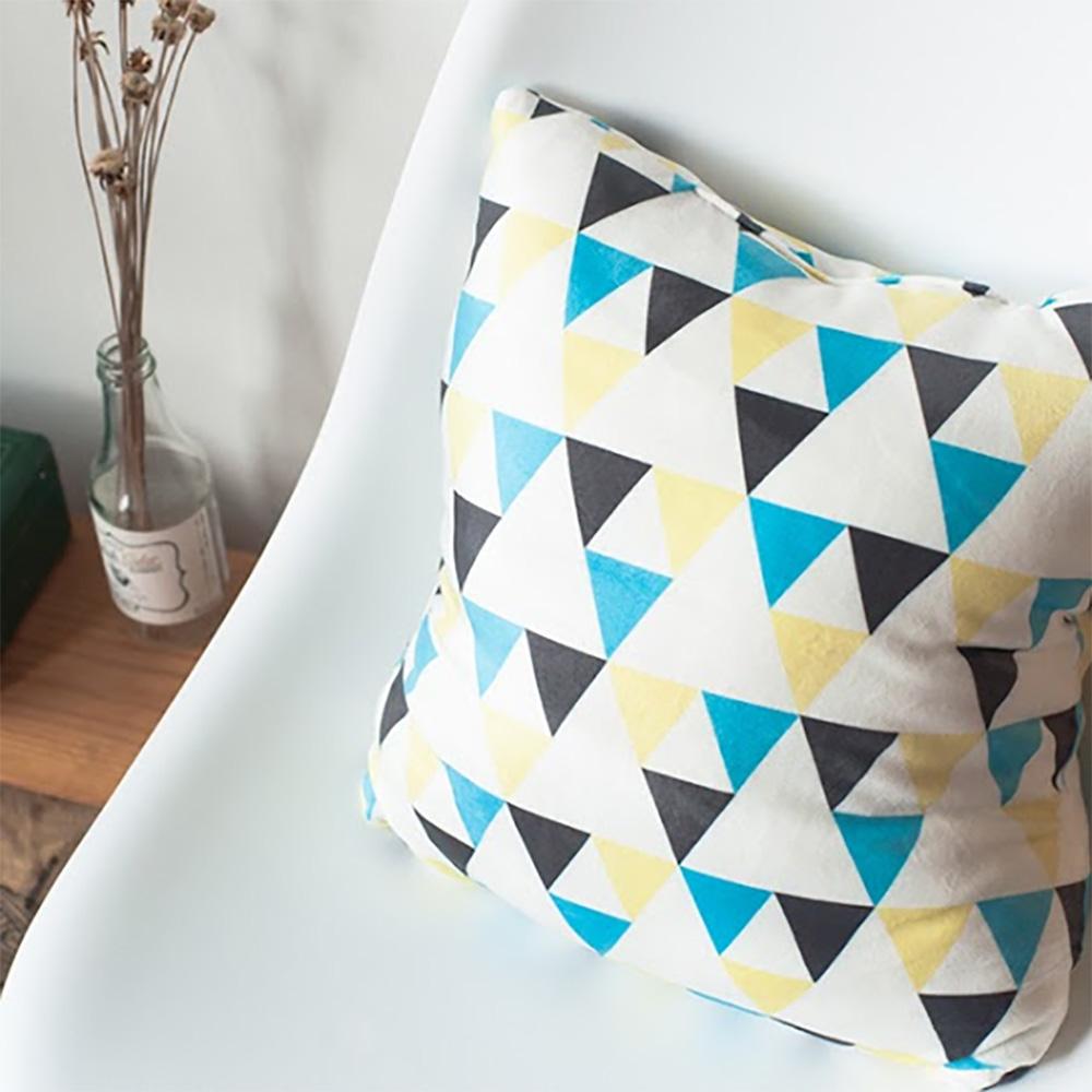 HIPEPPER|奇幻幾何圖形抱枕-黃藍
