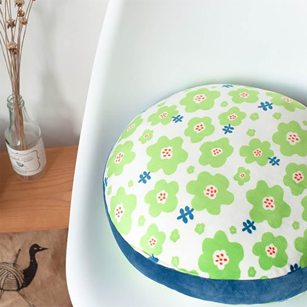 HIPEPPER|日式和風小花抱枕-青草綠