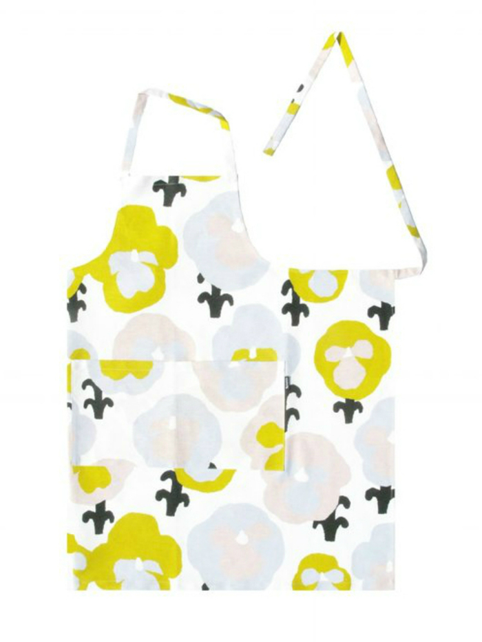 Kauniste 棉麻圍裙 (黃色三色堇)