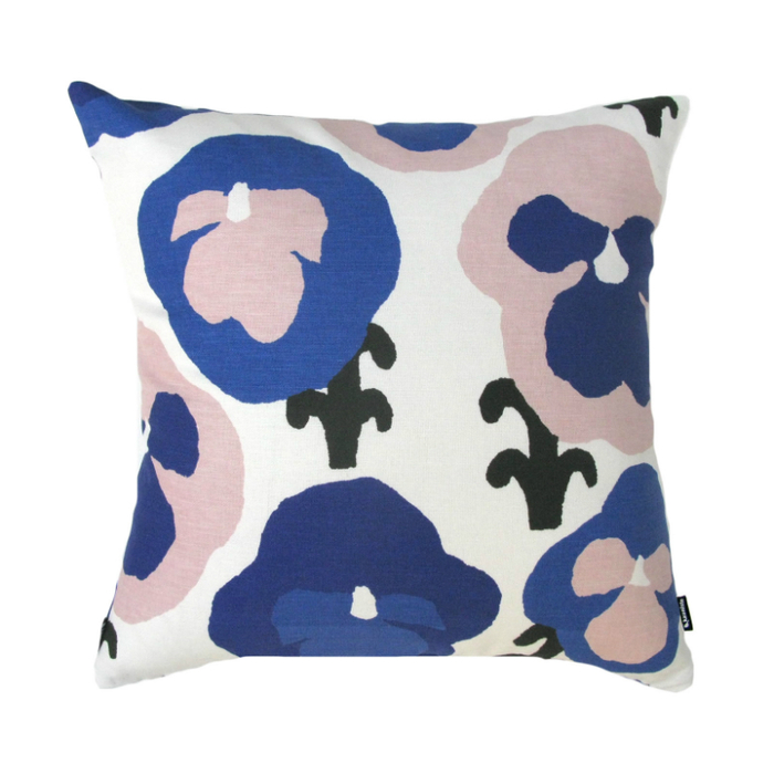 Kauniste|棉麻抱枕套 (紫色三色堇)