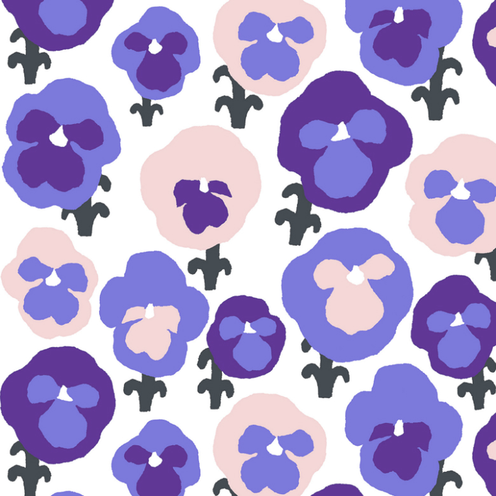 Kauniste|棉麻布包 (紫色三色堇)