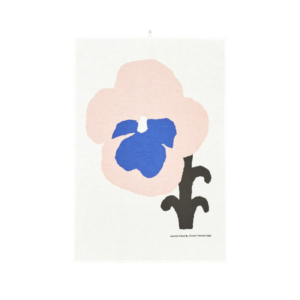 Kauniste|棉麻擦巾 (紫色三色堇)