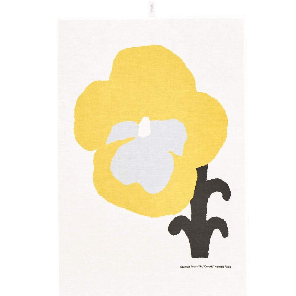 Kauniste 棉麻擦巾 (黃色三色堇)
