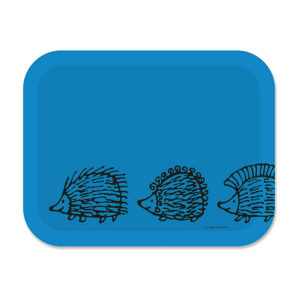 Lisa Larson|刺蝟三兄弟白樺木大托盤 (藍)