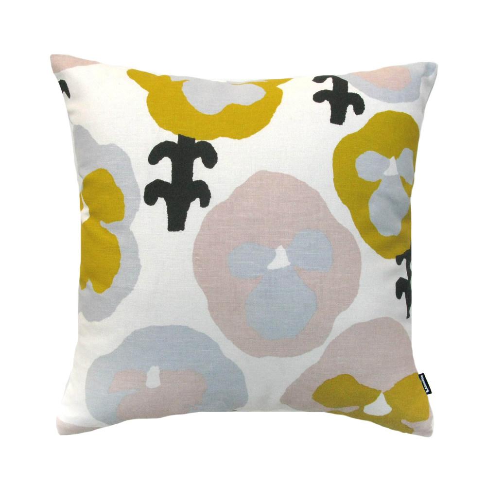 Kauniste|棉麻抱枕套 (黃色三色堇)