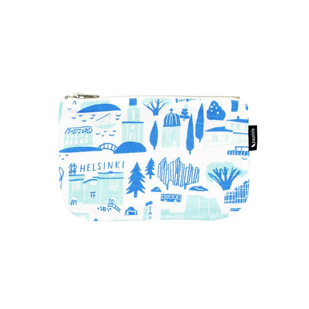Kauniste|棉麻大化妝包 (綠色赫爾辛基)