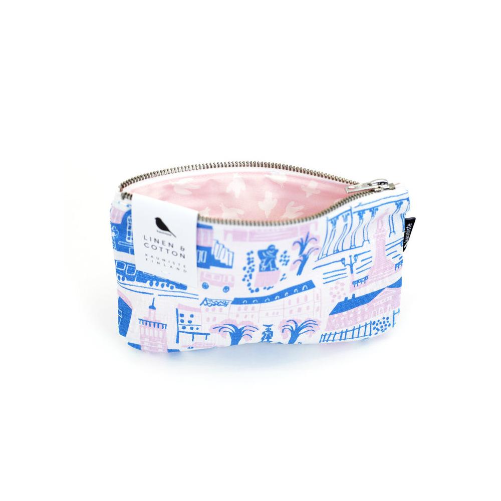 Kauniste|棉麻小化妝包 (綠色赫爾辛基)
