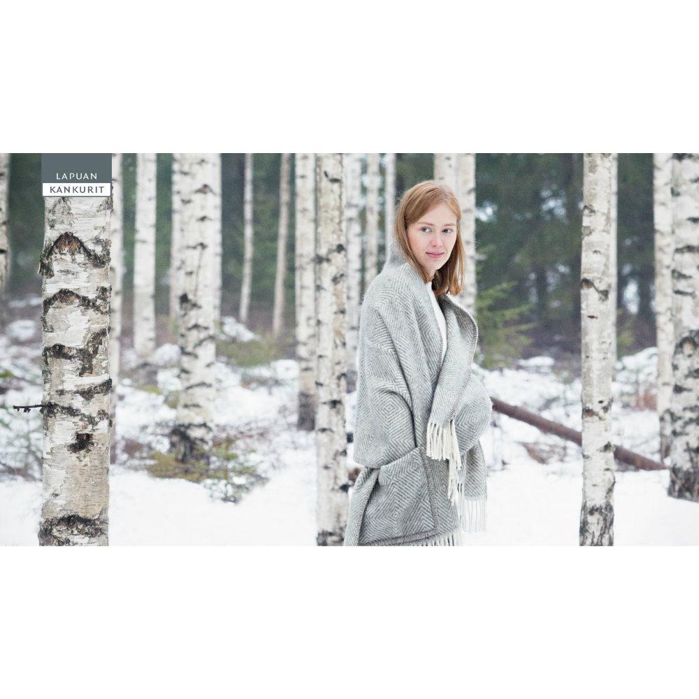 Lapuan Kankurit|MARIA羊毛口袋披肩 (淺灰條紋)