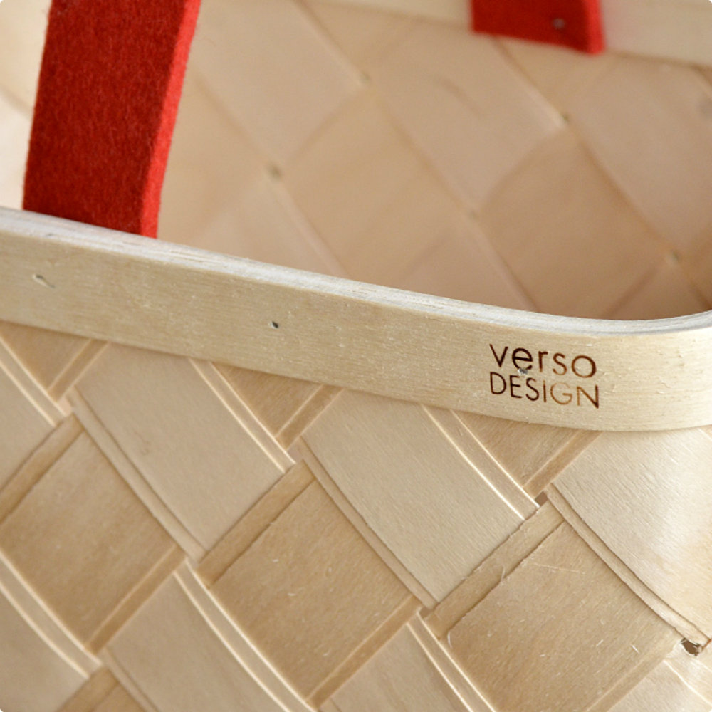 Verso Design|白樺木蘑菇籃 (紅羊毛氈把)