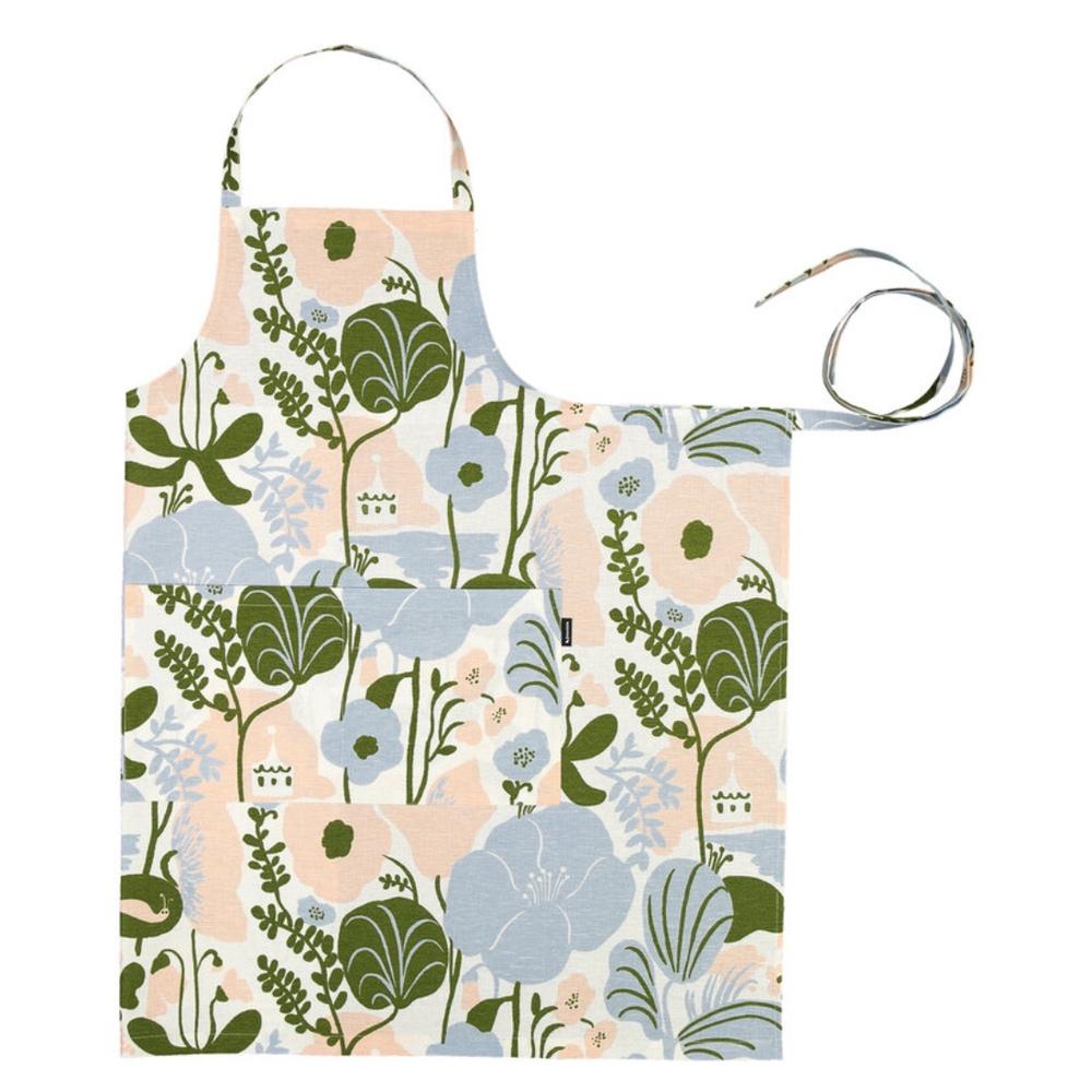 Kauniste|棉麻圍裙 (夏日的秘密基地粉藍)