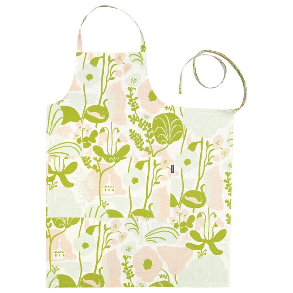 Kauniste 棉麻圍裙 (夏日的秘密基地粉綠)