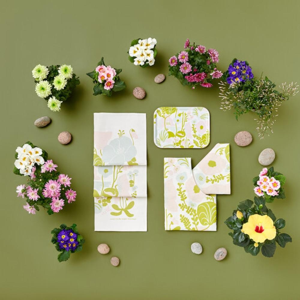 Kauniste|棉麻擦巾 (夏日的秘密基地粉綠)