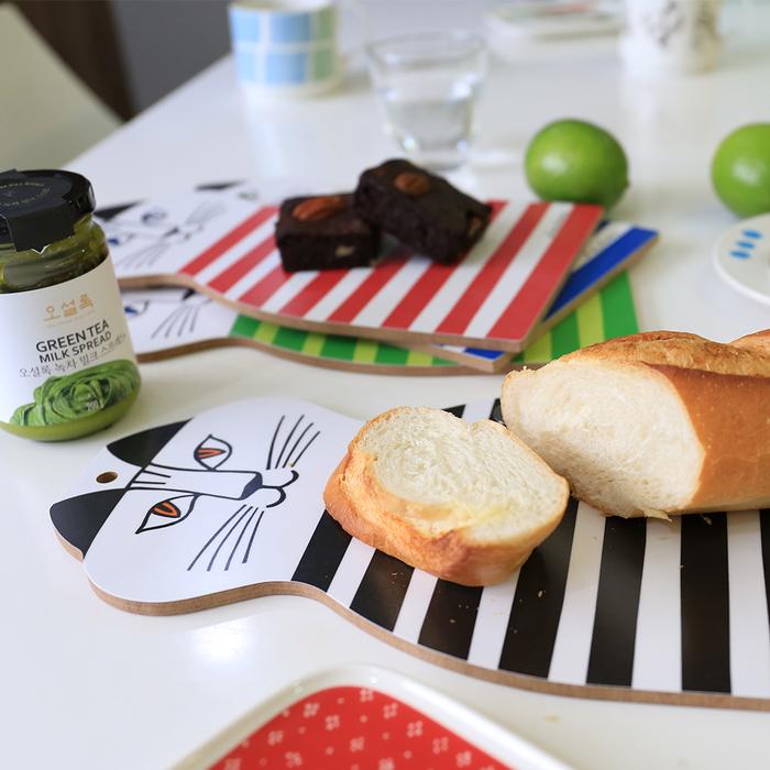 (複製)Lisa Larson|Mimi貓造型白樺木砧板/餐墊 (藍條紋)