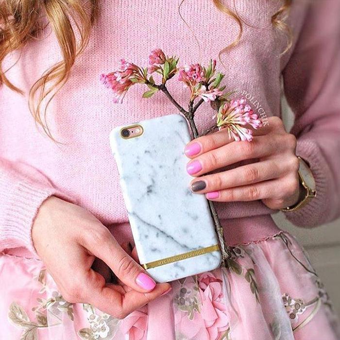 Richmond & Finch│iPhone 8/7 大理石紋玫瑰金線框手機殼(白色)