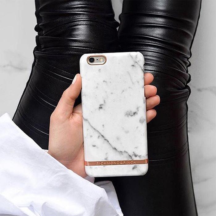 Richmond & Finch│iPhone 7 PLUS/8 PLUS (5.5吋) 大理石紋玫瑰金線框手機殼 - 白色