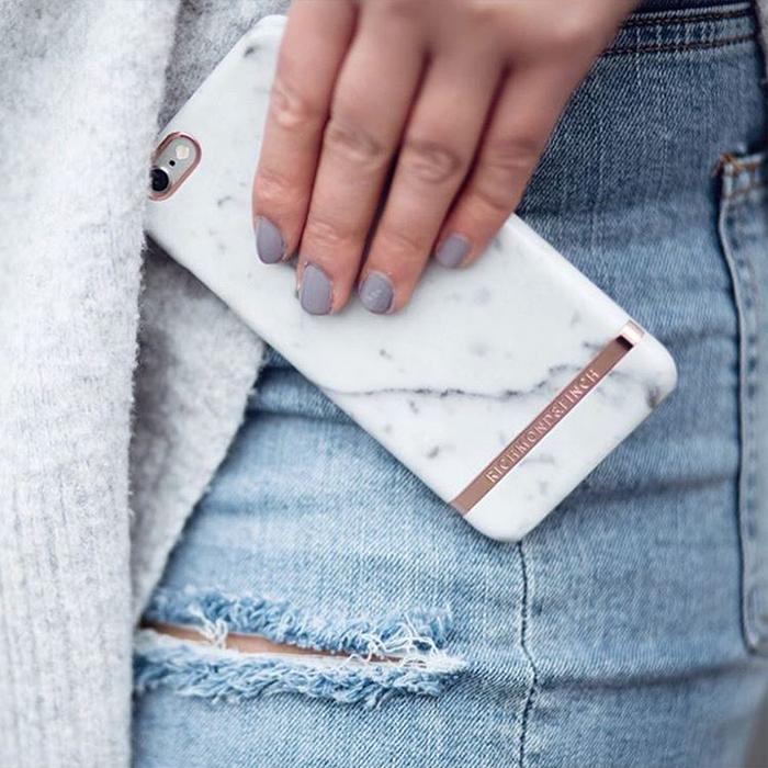 Richmond & Finch│iPhone X 大理石紋玫瑰金線框手機殼 - 白色
