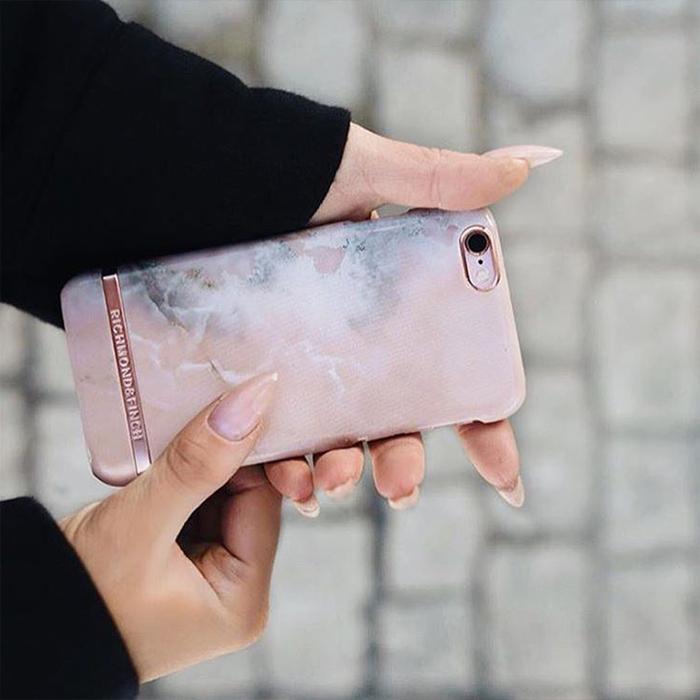 Richmond & Finch│iPhone  X 大理石紋玫瑰金線框手機殼 - 玫瑰粉