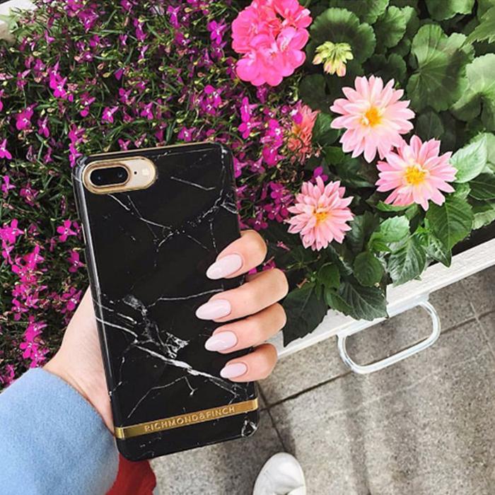 Richmond & Finch│iPhone  X 大理石紋銀線框手機殼 - 黑色