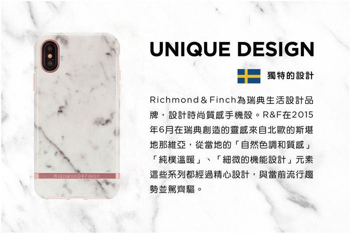 Richmond & Finch│iPhone XS MAX大理石白 玫瑰金線框手機殼