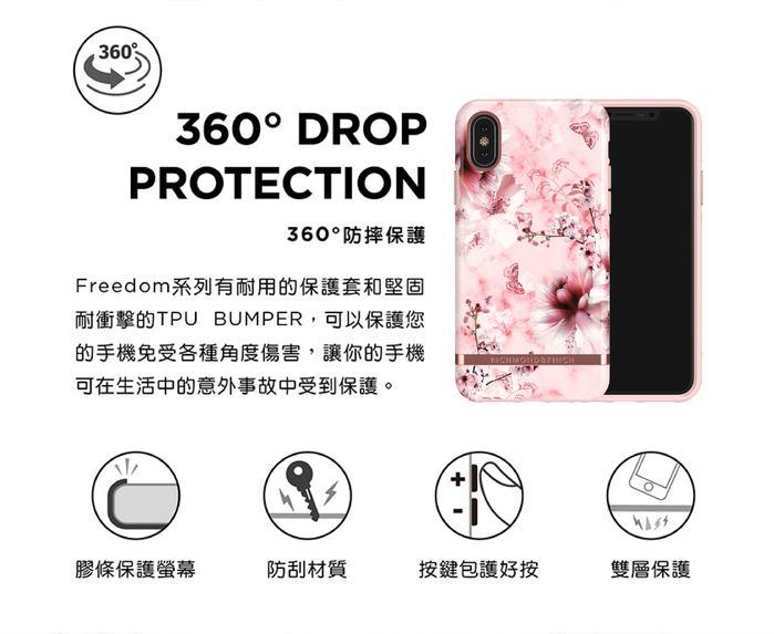 (複製)Richmond & Finch│iPhone XS MAX白色大理石紋熱帶棕梠 金線框手機殼