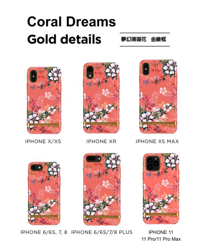 Richmond & Finch│iPhone 11 夢幻珊瑚花 金線框手機殼