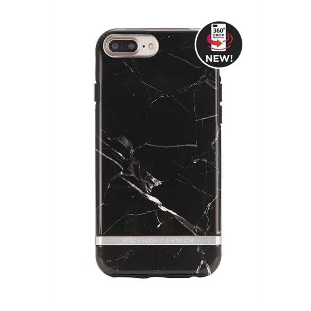 Richmond & Finch│iPhone 7 PLUS/8 PLUS (5.5吋) 大理石紋銀線框手機殼 - 黑色