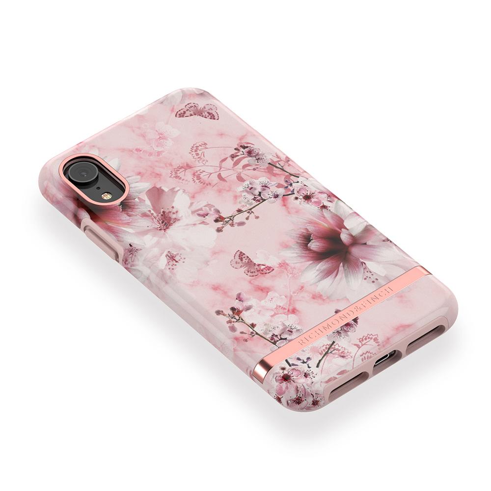 Richmond & Finch│iPhone XR粉色大理石紋櫻花 玫瑰金線框手機殼