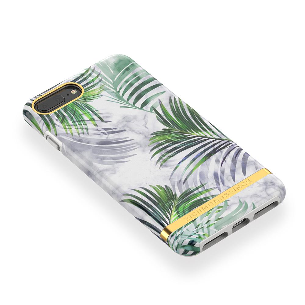 Richmond & Finch│iPhone 6 PLUS/7 PLUS/8 PLUS (5.5吋)白色大理石紋熱帶棕梠 金線框手機殼