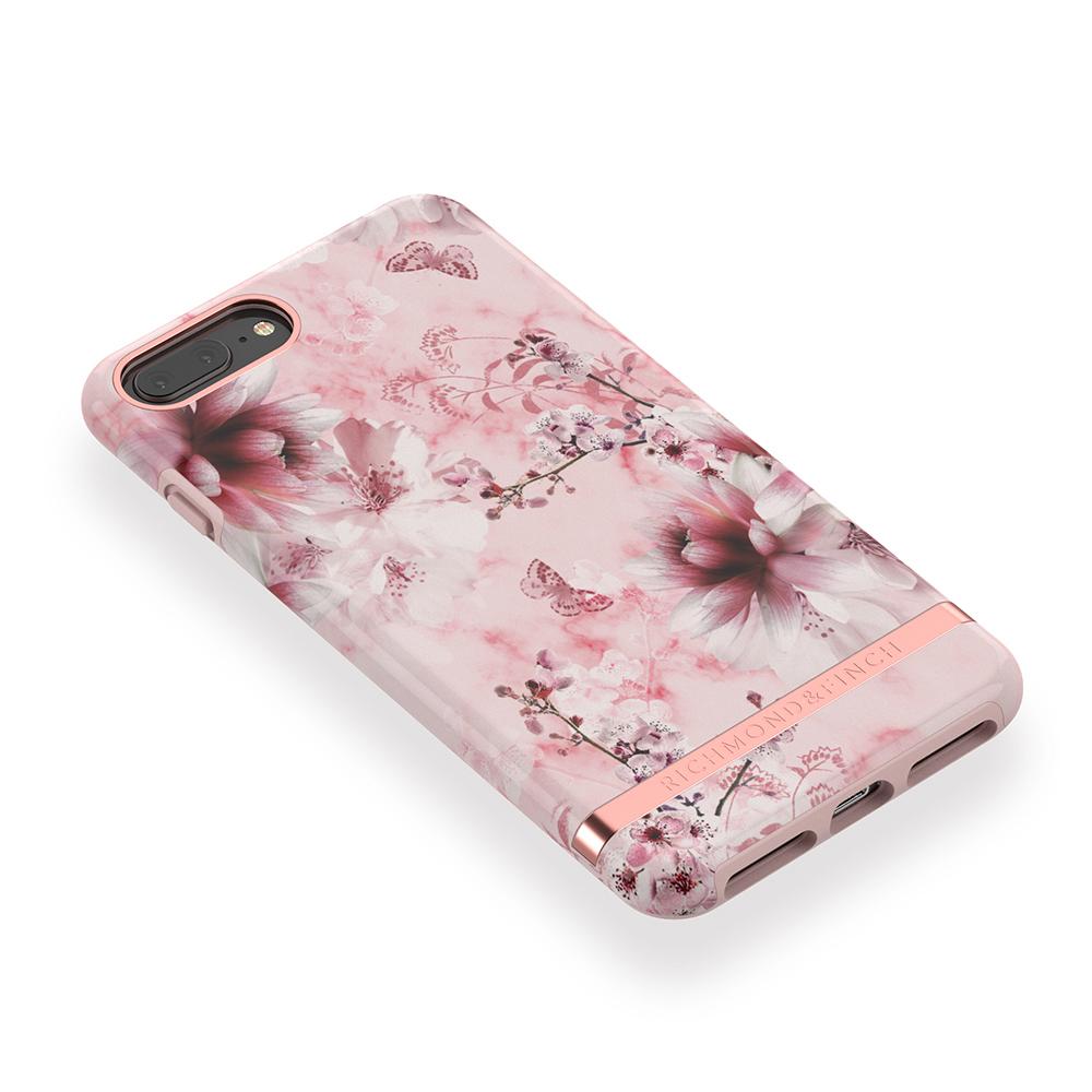 Richmond & Finch│iPhone 6 PLUS/7 PLUS/8 PLUS (5.5吋)粉色大理石紋櫻花 玫瑰金線框手機殼