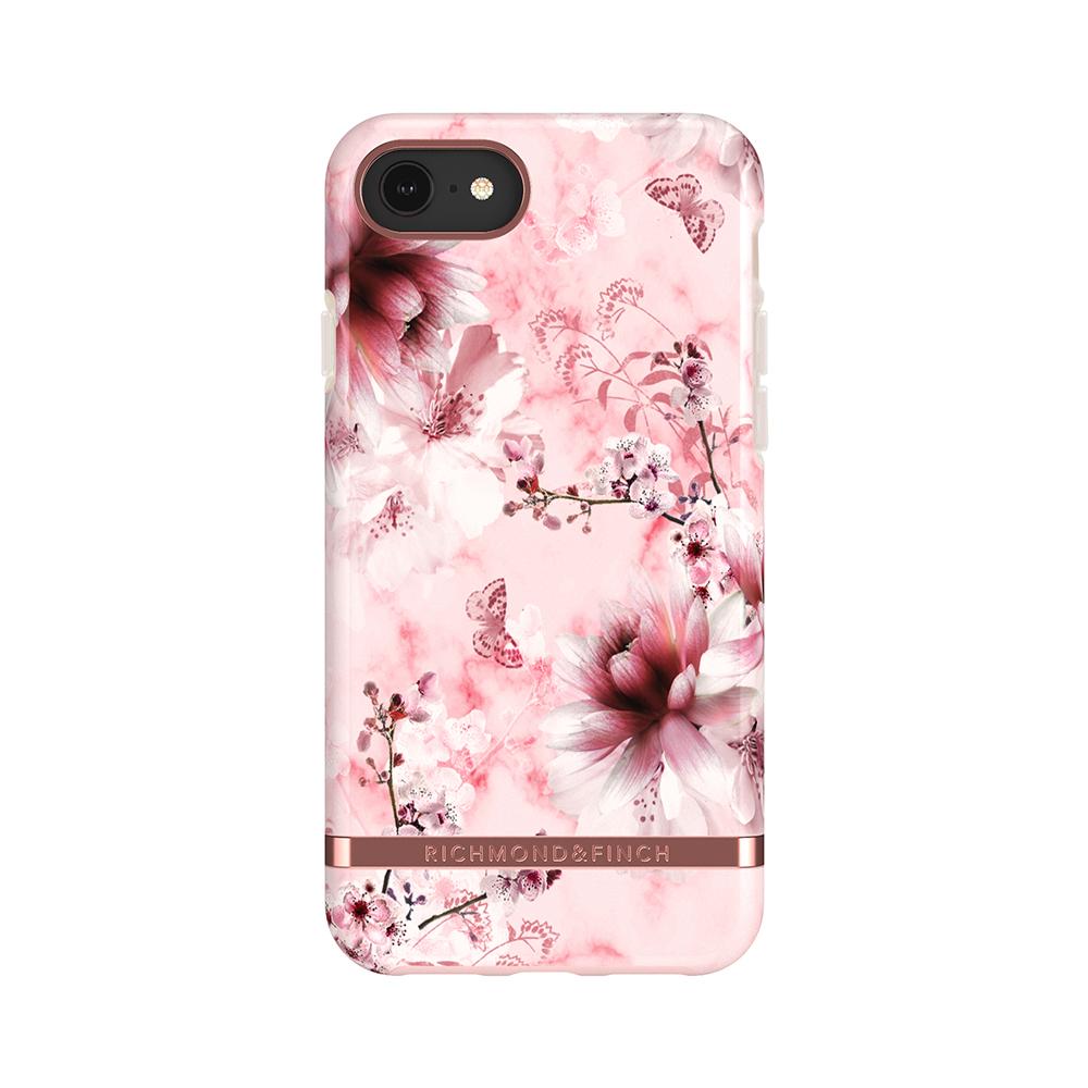 Richmond & Finch│iPhone 6/7/8(4.7吋)粉色大理石紋櫻花 玫瑰金線框手機殼