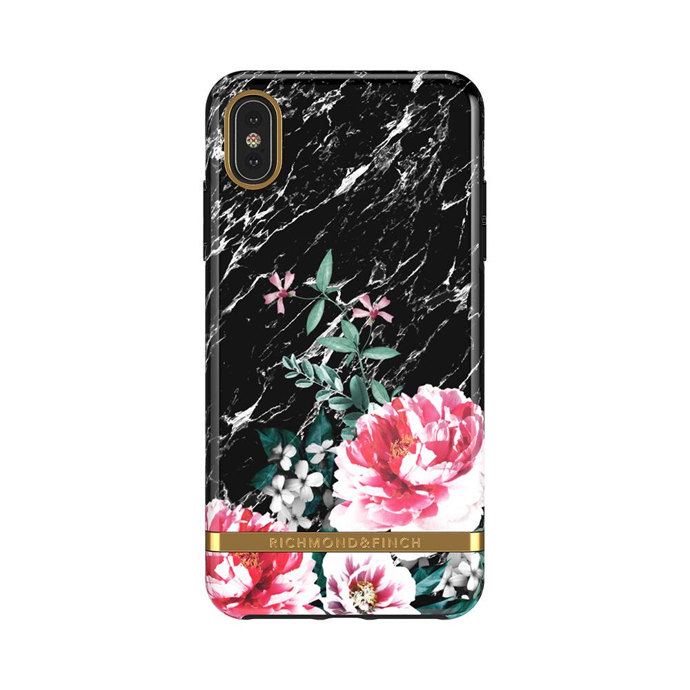 Richmond & Finch│iPhone XS MAX黑色大理石紋茶花 金線框手機殼