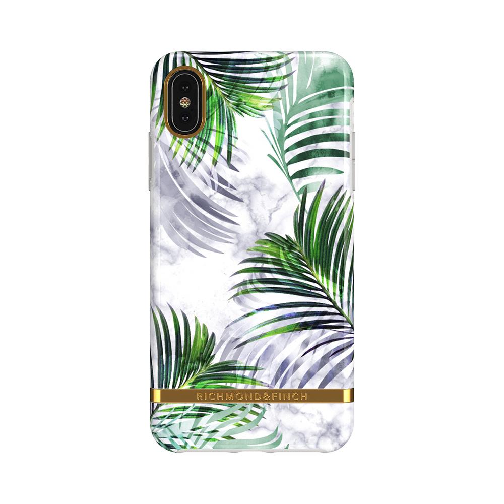 Richmond & Finch│iPhone XS MAX白色大理石紋熱帶棕梠 金線框手機殼