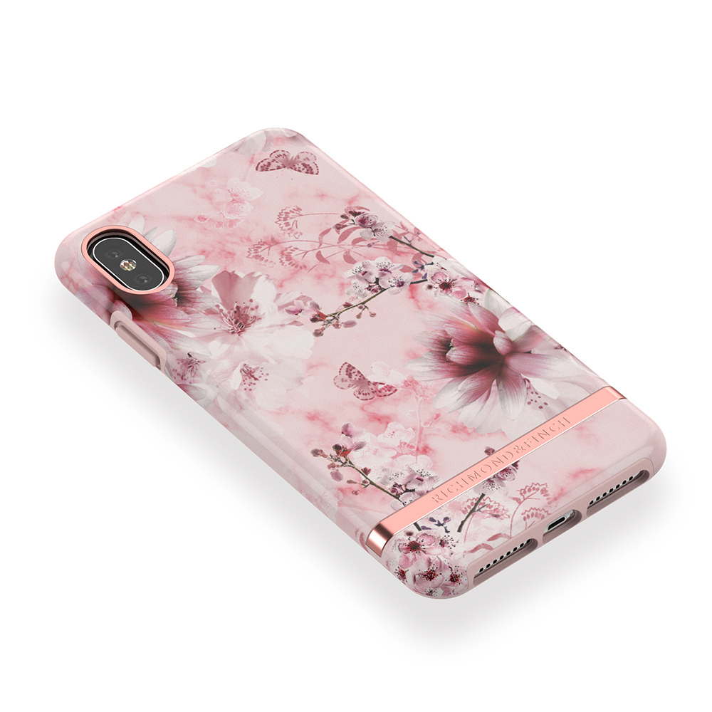 Richmond & Finch│iPhone XS MAX粉色大理石紋櫻花 玫瑰金線框手機殼