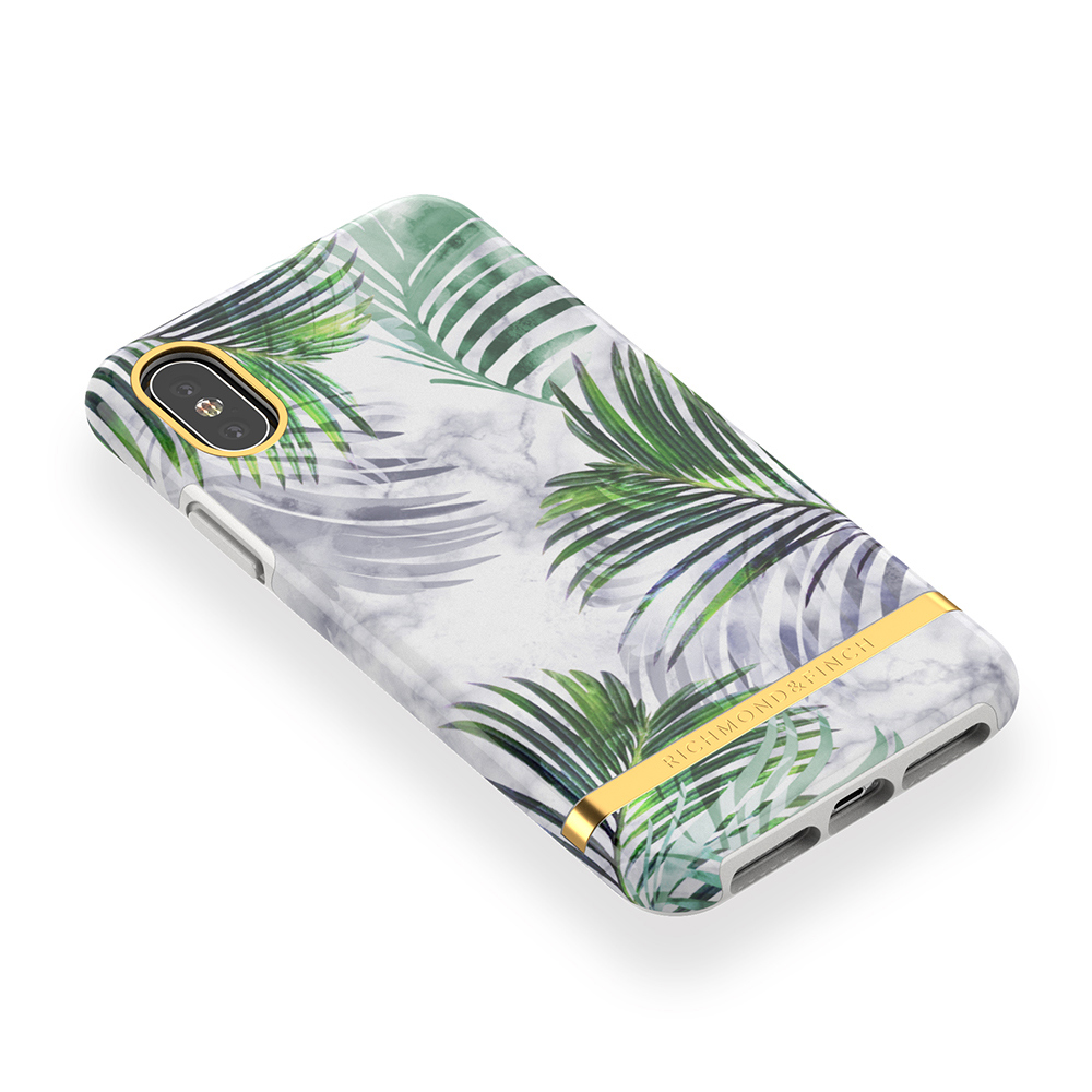 Richmond & Finch│iPhone X/XS白色大理石紋熱帶棕梠 金線框手機殼