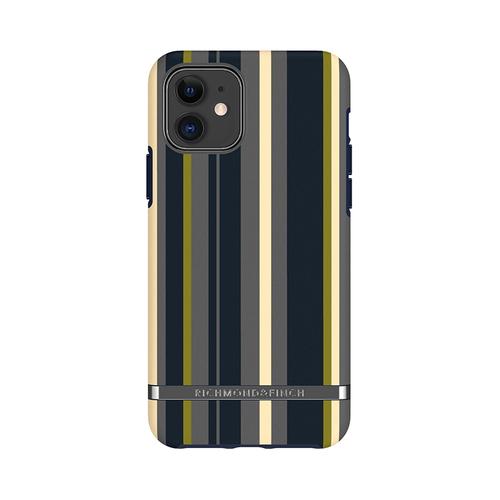 Richmond & Finch│iPhone 11 海軍條紋 啞光黑線框手機殼